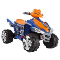 Battery Powered Ride On Toy ATV Four Wheeler With Sound Effects by Lil' Rider  (Blue/Orange)