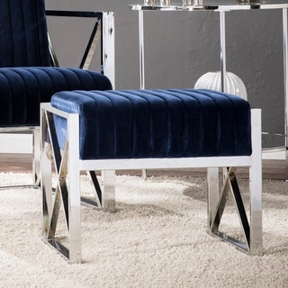 Silver Orchid Brent Blue Velveteen Ottoman with Chrome-finish Frame