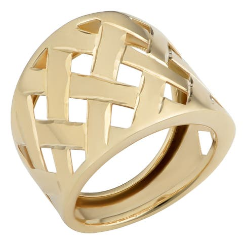 Fremada Italian 14k Yellow Gold 19 millimeters Wide Lattice Ring