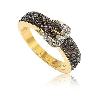 Suzy Levian Golden Sterling Silver Brown Cubic Zirconia Buckle Ring - Gold
