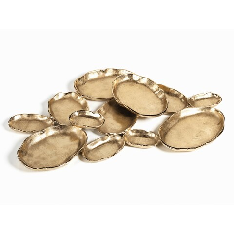 12-Tier Cluster Oval Serving Bowl, Gold