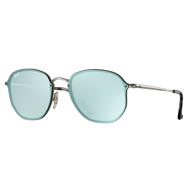 bf0cc9816083c Ray-Ban Blaze Hexagonal Sunglasses Silver  Dark Green  amp  Silver Mirror  58mm