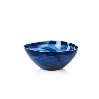 """""""Monte Carlo"""" 9.75"""" Diameter Large Glass Bowl, Indigo Alabaster (Set of 2)"""