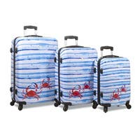 World Traveler Beach Collection Blue Striped Crab Hardside 3-Piece Spinner Luggage Set
