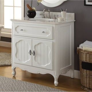 """Benton Collection Knoxville Cottage Style White Bathroom Vanity 34"""""""