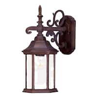 Acclaim Lighting Madison Collection 15-inch,  1-Light Outdoor Burled Walnut Wall-Mount Light Fixture with Clear Seeded Glass
