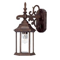 Acclaim Lighting Madison Collection 15-inch, 1-Light Outdoor Burled Walnut Wall-Mount Light Fixture with Clear Beveled Glass
