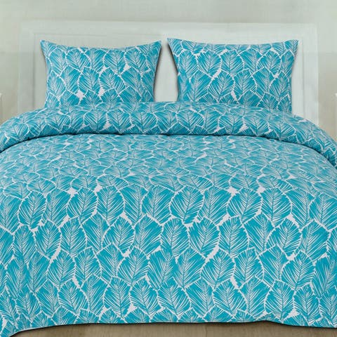 Tropical Leaf 3-Piece Patterned Duvet Set (Full/Queen, King)