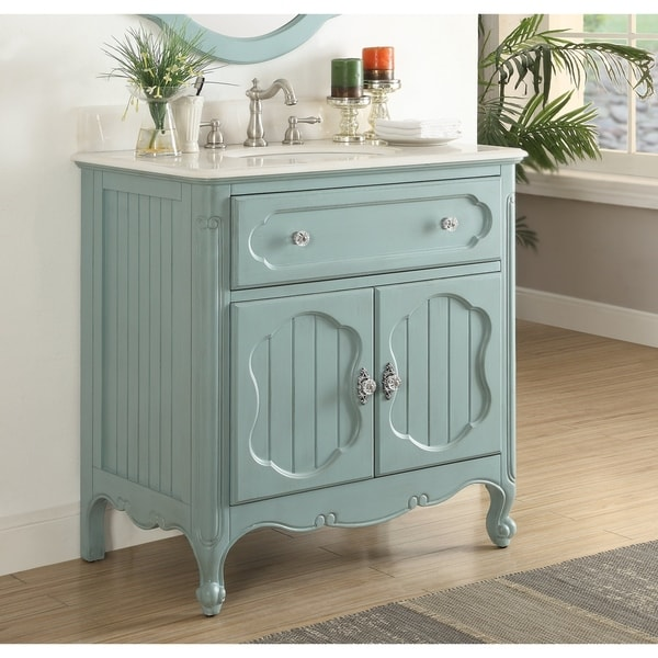 34 Benton Collection Knoxville Vintage Blue Bathroom Sink Vanity