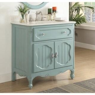 "Benton Collection Knoxville Vintage Blue Bathroom Sink Vanity 34"""