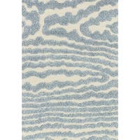Mid-century Ivory/ Light Blue Abstract Shag Rug - 9' x 12'