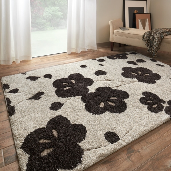 Mid-century Ivory/ Brown Floral Shag Rug - 9' x 12'