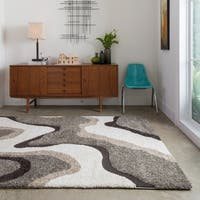 Palm Canyon Westlake Abstract Mid-century Taupe/ Ivory Shag Area Rug - 9' x 12'