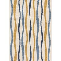Carson Carrington Falkoping Blue/Gold Wavy Stripe Shag Area Rug - 9' x 12'
