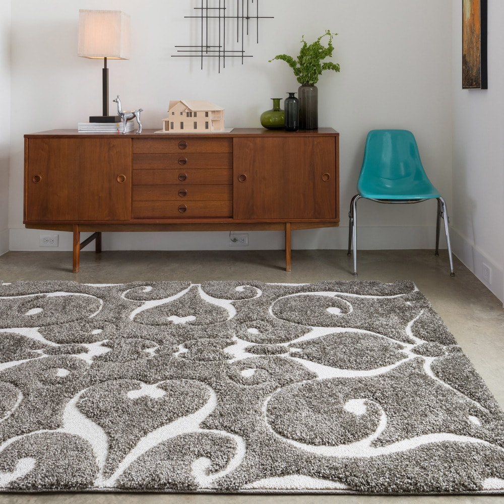 Shop For Alexander Home Julian Transitional Scroll Shag Area Rug Get Free Delivery On Everything At Overstock Your Online Home Decor Store Get 5 In Rewards With Club O 5106523