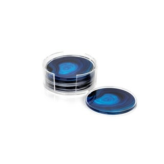 Round Coasters with Holder, Deep Blue Agate Pattern (Set of 6)