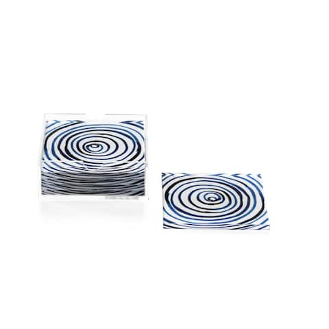 Square Coasters with Holder, Blue Circle Pattern (Set of 6)
