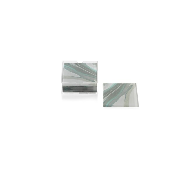 """Aqua Lagoon"" Agate Coasters with Holder, Square Shaped (Set of 6)"