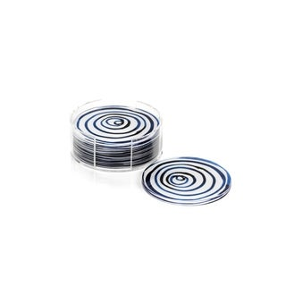 Round Coasters with Holder, Blue Circle Pattern (Set of 6)