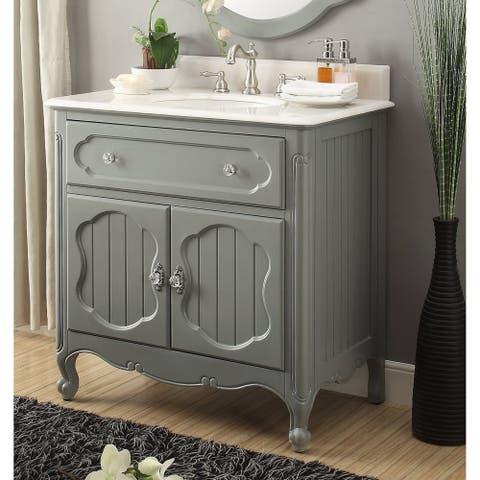 "34"" Benton Collection Knoxville Victorian Gray Bathroom Sink Vanity"