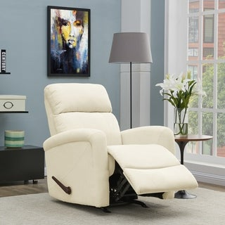 Carson Carrington Harlev Cream Chenille Rocker Recliner Chair