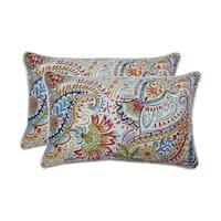 Pillow Perfect Outdoor / Indoor Gilford Festival Blue Rectangular Throw Pillow (Set of 2)
