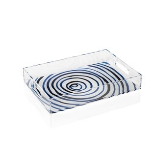 "15"" Long Rectangular Tray, Blue Circle Pattern"