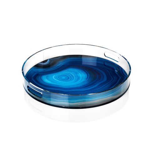 "18"" Diameter Round Tray, Deep Blue Agate Pattern"