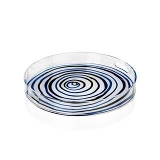 "18"" Diameter Round Tray, Blue Circle Pattern"