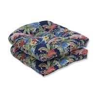 Pillow Perfect Outdoor / Indoor Flamingoing Lagoon Blue Wicker Seat Cushion (Set of 2)