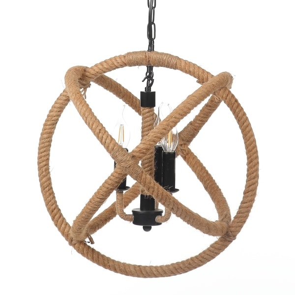 Nautical 18 Inch Jute Rope Globe Chandelier, 3 Light