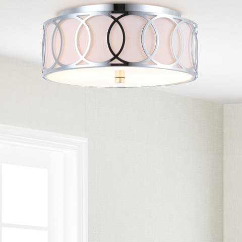 "Aria 2-Light 12.25"" Metal LED Flush Mount, Chrome - Silver"