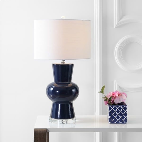 "Julia 28.5"" Ceramic LED Table Lamp, Navy"