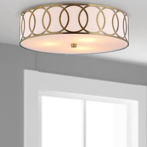 "Aubrey 3-Light 15.5"" Metal LED Flush Mount, Brass - Gold"