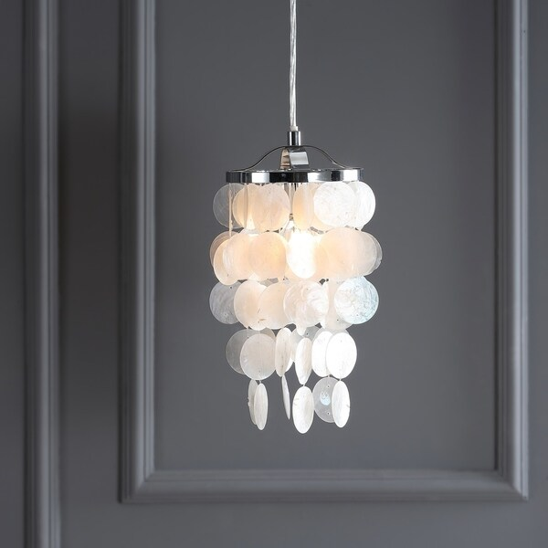 "Cayla 7"" Seashell LED Chandelier Pendant, White/Chrome"