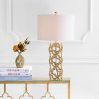 "Oliver 26.5"" Metal Quatrefoil LED Table Lamp, Gold"