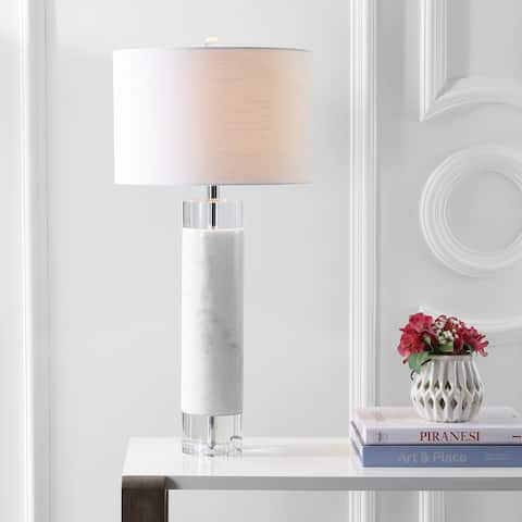 "Hunter 32"" Marble/Crystal LED Table Lamp, White by JONATHAN Y"