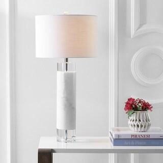 "Hunter 32"" Marble/Crystal LED Table Lamp, White"