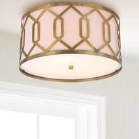 "Hex 3-Light 16.25"" Metal LED Flush Mount, Brass"