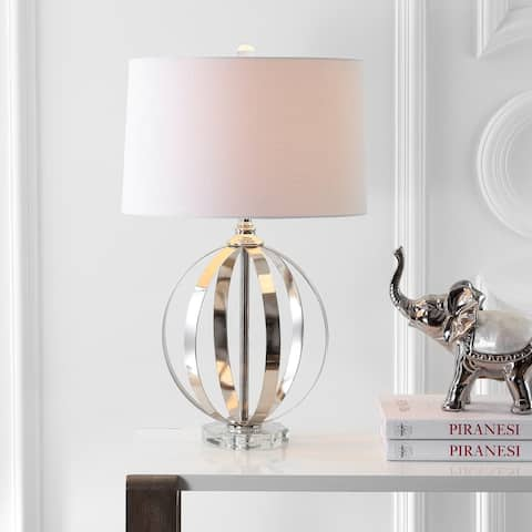 "Logan 26"" Metal Orb LED Table Lamp, Polished Nickel by JONATHAN Y"