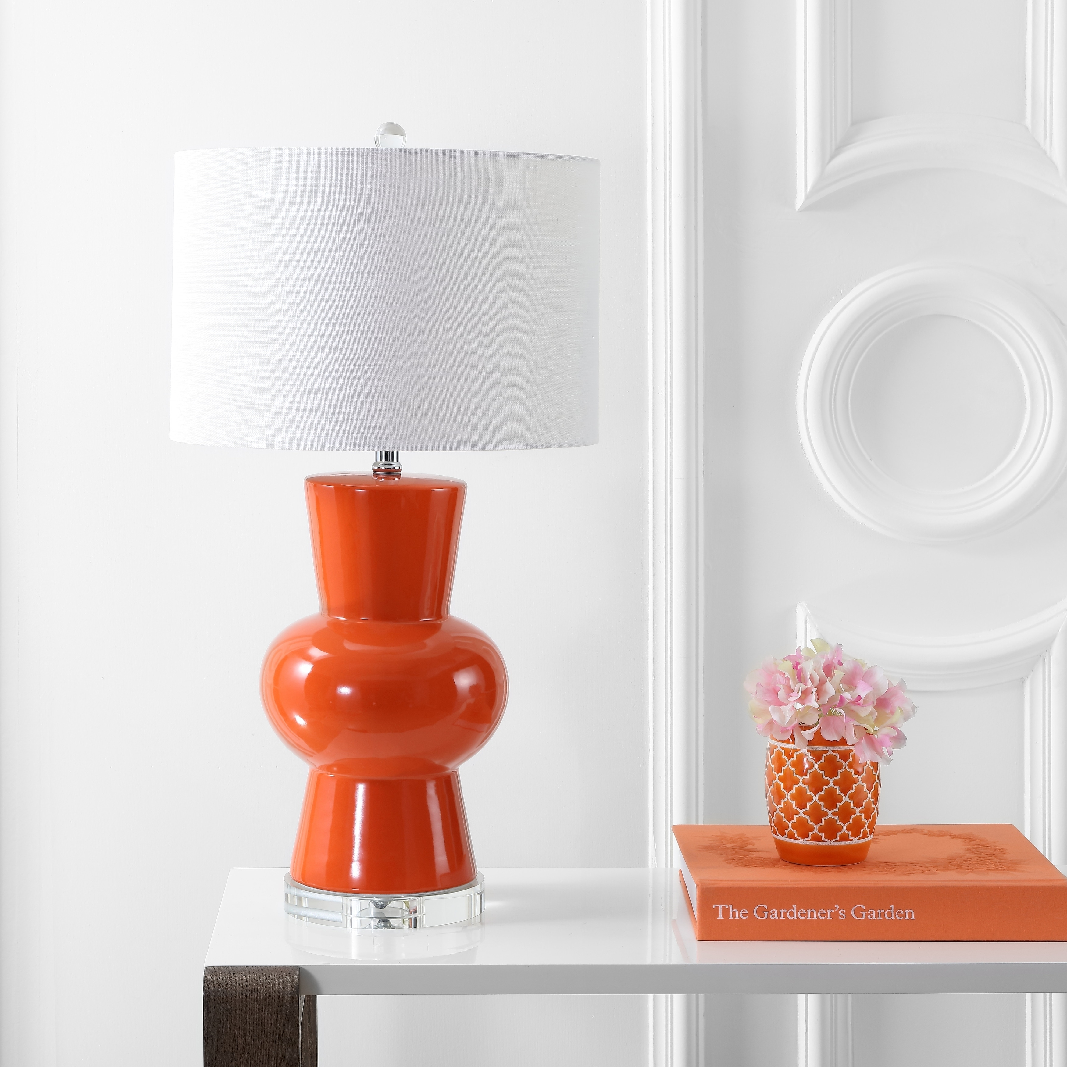 Shop Julia 28 5 Ceramic Led Table Lamp Coral By Jonathan Y Overstock 20711808
