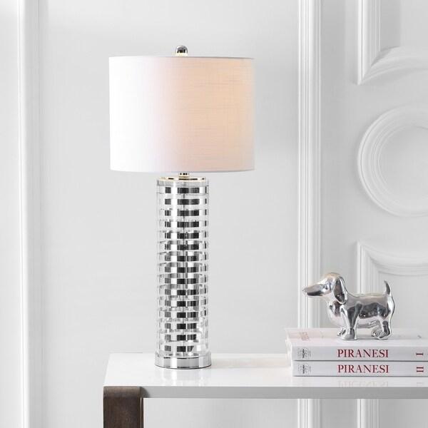"Thompson 29.5"" Glass LED Table Lamp, Clear/Chrome"