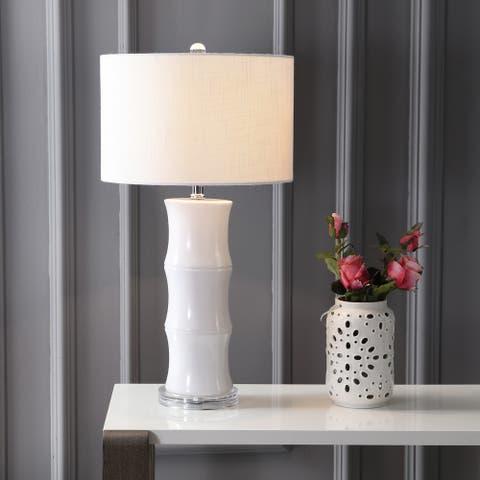 "Tiki 26.5"" Ceramic LED Table Lamp, White by JONATHAN Y"