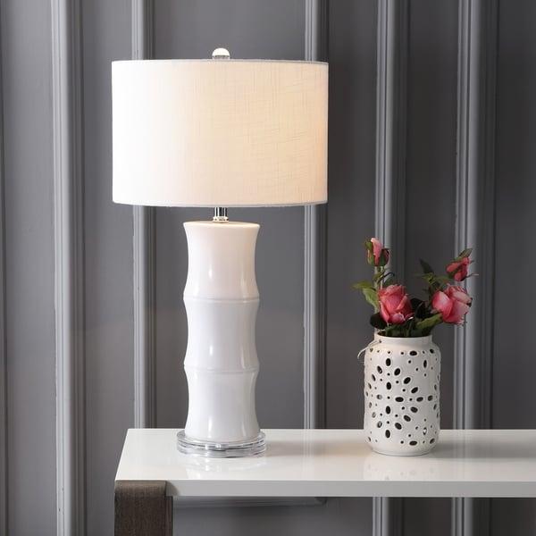 "Tiki 26.5"" Ceramic LED Table Lamp, White"