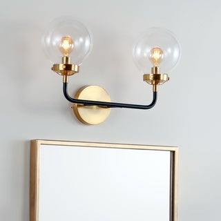 "Caleb 2-Light 18"" Brass Wall Sconce, Black/Brass by JONATHAN  Y"