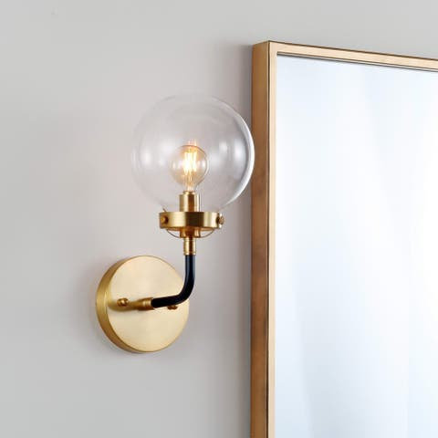 "Caleb 1-Light 8"" Brass Wall Sconce, Black/Brass by JONATHAN Y"
