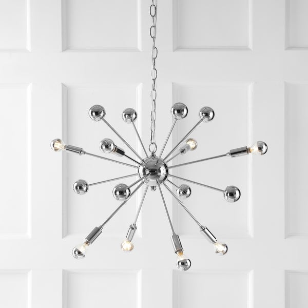 "Glenn 8-Light 22.5"" Metal Sputnik-Style LED Chandelier, Chrome - Silver"