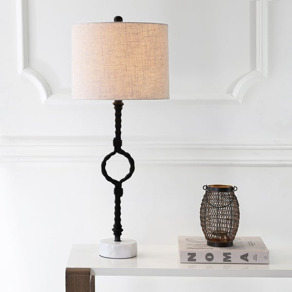 "Mercer 32.5"" Metal/Marble LED Table Lamp, Black/Gray"