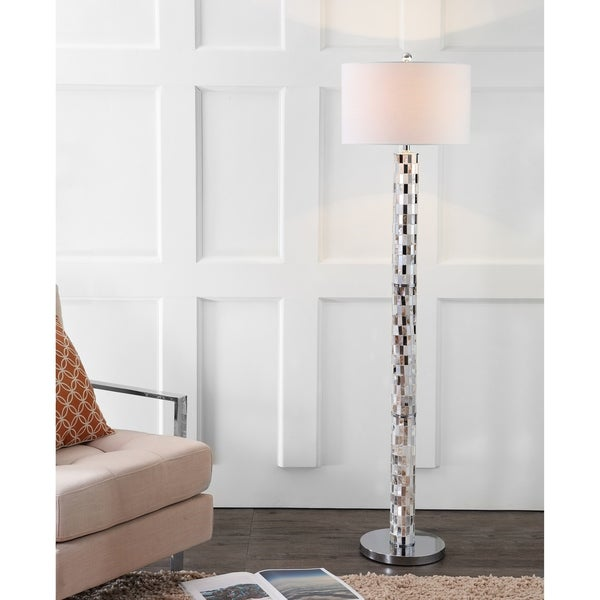 "Liam 63.5"" Seashell Mosaic LED Floor Lamp, Cream"