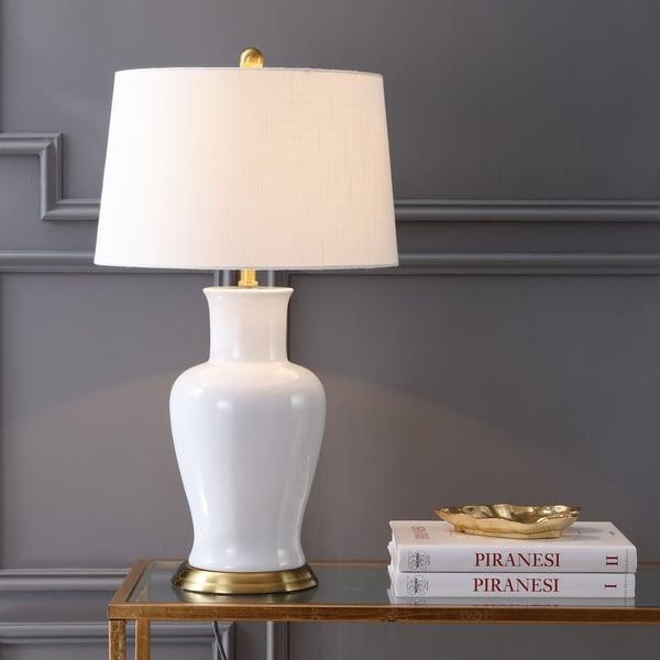 "Julian 29"" Ceramic LED Table Lamp, White/Gold"